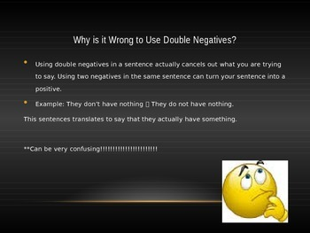 Homophones and Double Negatives Lesson