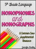 Homophones and Homographs Resources {Common Core Supplemen