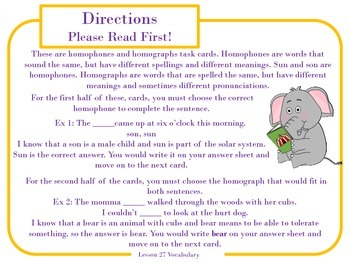 Homophones and Homographs Task Cards for Journeys 3rd Grade