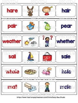 Homophones and Homonyms Word Wall Cards