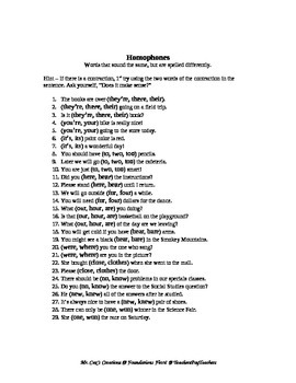 Homophones are Fun!!! Language Skills - Homographs and Homonyms