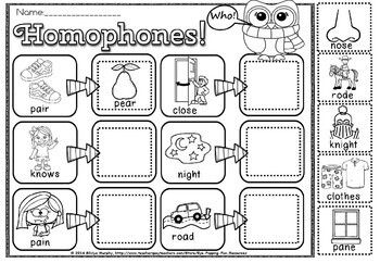 Homophones. cut and paste(50% off for 48 hours)