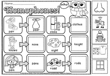 Homophones. cut and paste
