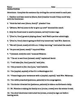 HOMOPHONES WRITING ACTIVITIES (GRADES 4 - 6)