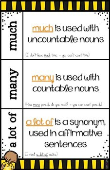 Tricky Words much-many-a lot of POSTER