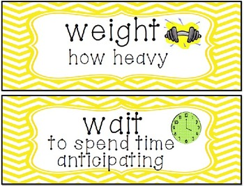 Homophones of the Week-Word Wall Cards and Practices/Quizzes