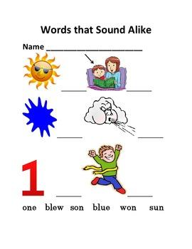 Homophones or Words that Sound Alike as Handouts or in Microsoft Word