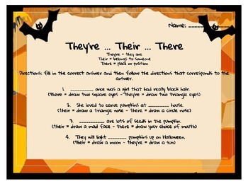 Homophones (their, they're, there) - Halloween