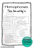 Homophones - there, their, they're - card sort and worksheet