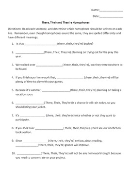 Homophones there, their, they're Worksheet