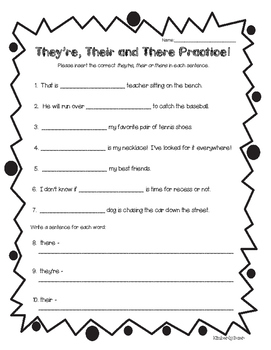 Homophones - there, they're and their Practice Worksheet