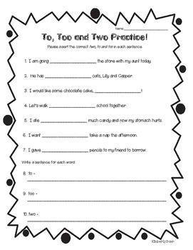 Homophones - to, too and two Practice Worksheet