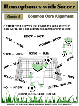 Homophones with Soccer: 2 Quizzes - Common Core
