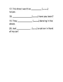 Homophones - worksheet