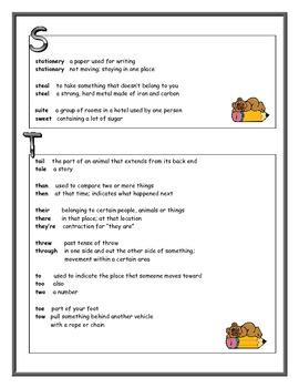 Homophones/Spelling Chart