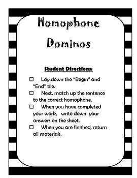 Homphone Dominos    Common Core & LAFS