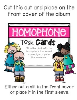 Homphone Task Card: Photo Book Version