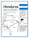 HONDURAS - Printable handouts with map and flag