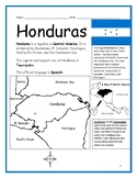 HONDURAS - Printable handouts with map and flag