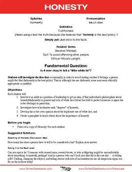 Honesty Character Lesson Plan