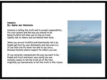 Honesty Poem By Marla Ann Weinstein Teachers Pay Teachers