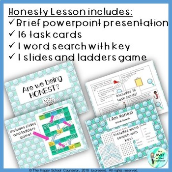 Are We Being Honest? Honesty Lesson: Powerpoint, Task Cards, Word Search, + Game