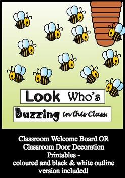 Honeybee Bulletin Board Set / Classroom Welcome Door Decoration - Printables