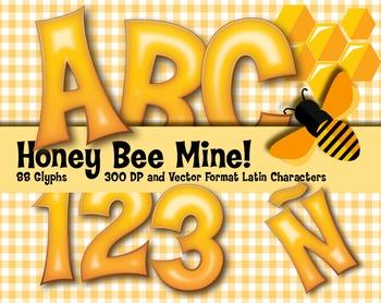 "Honey Be Mine! Alphabet - 88 - 300 DPI - PDF & PNGs - 3.75"" High - Very Sweet!"