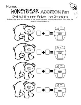 Honey Bear Math Fun - Addition Worksheet