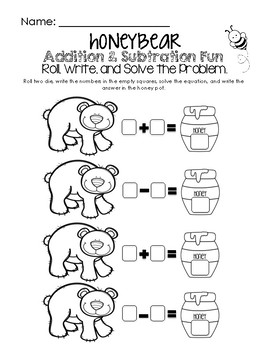Honey Bear Math Fun - Addition & Subtraction Worksheet
