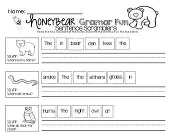 Honey Bear Grammar Fun - Sentence Scramblers