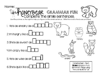 Honey Bear Grammar Fun - Simile Sentences