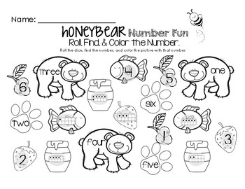 Honey Bear Math Fun - Roll, Find, and Color Worksheet