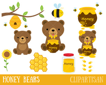 Honey Bears Clip Art, Bees