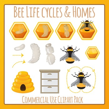 Honey Bee 2 (Life Cycle / Hives / Dance) Clip Art Pack for Commercial Use