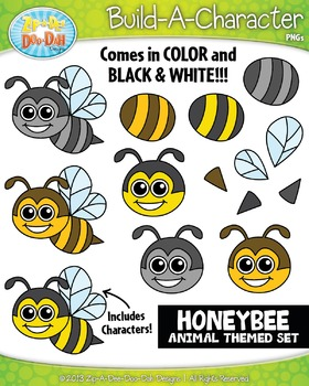 Honey Bee Build-A-Character Clipart Set — Includes 20 Graphics!