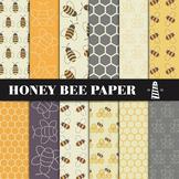 Honey Bee Digital Paper, Scrapbooking Backgrounds, Honeycomb Pattern, Honey Bees