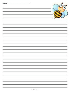 Honey Bee Lined Paper