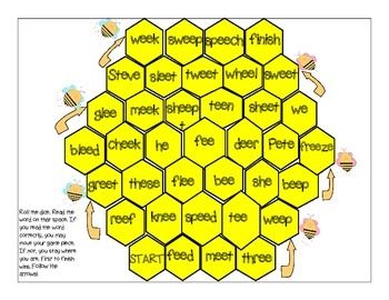 Honey Bee Long & Silent E/EE Phonics Game