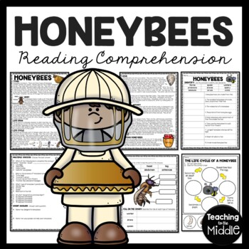 Honey Bee Reading Comprehension and Cut and Paste; Bees; Pupa; Larva; Honeycomb