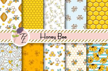 Honey Bee Seamless Pattern Set. Digital paper pack.