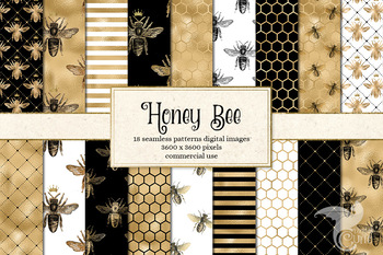 Honey Bee digital paper, seamless black white and gold patterns, backgrounds
