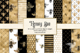 Honey Bee digital paper, seamless black white and gold pat