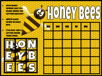 Honey Bees Boggle Activity (Digital and Printable)