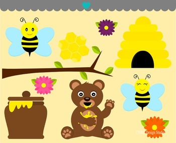 Bees bear clipart commercial use