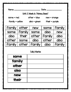 """Honey Bees"" Sight Word Graph"