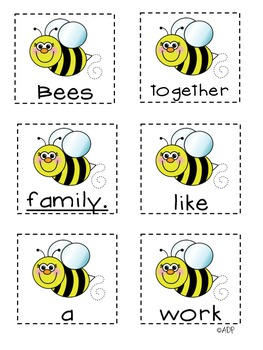 Honey Bees Unscramble the Sentences (1st Grade Reading Street 2.6)