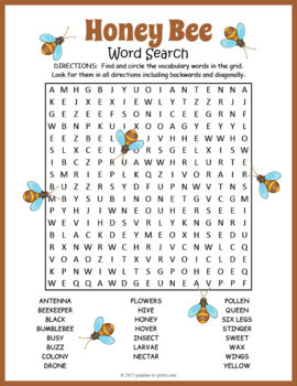 Honey Bees Word Search