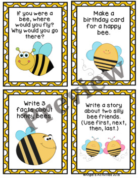 Honey Bees Writing Prompt Cards (Reading Street 1.2.6)