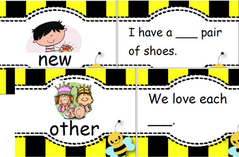 Honey Bees - high frequency words matching cards